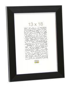 Deknudt - S41VK2 - fotolijst - voor 13x18 - zwart met zilverbies