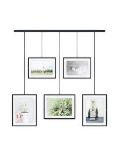 Umbra - Exhibit - ophangsysteem - voor 5 foto's - zwart - 56,8x46,7
