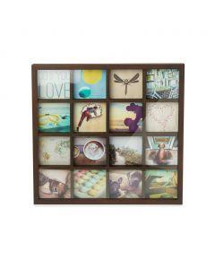 Umbra - GridArt - collagelijst - voor 16 foto's van 10x10 - donkerbruin